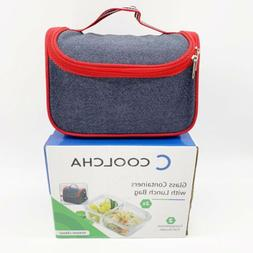 COOLCHA 1 Insulated Lunch Bag + 2 Glass Containers Meal Prep