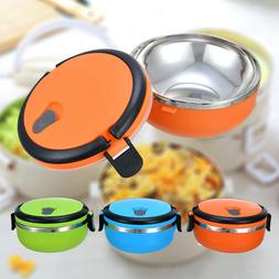 1 Layer Stainless Steel Round Thermal Insulated Lunch Box Fo