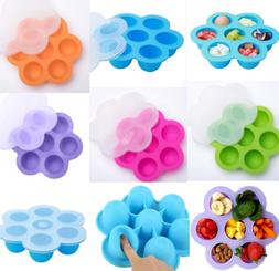 1pcs Silicone 7-hole box with lid ice tray food flower lunch