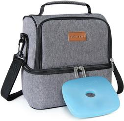 Lifewit 2 Compartment Lunch Box Insulated Lunch Bag Leakproo
