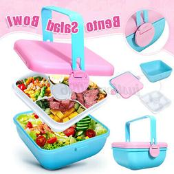 2 layer lunch box food container salad
