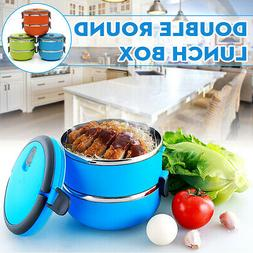 2-Layers Stainless Steel Thermal Insulated Lunch Box Bento F
