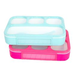 2 PCS Plastic Lunch Bento Box for Adults& Kids with Spoon 10