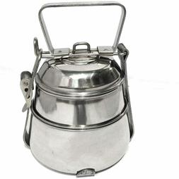 2 Tier Stainless Steel Tiffin Lunch Box, Vintage Pyramid Foo