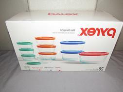 Pyrex 20 Piece Kitchen Glass Food Storage Set Lunch Box Cont