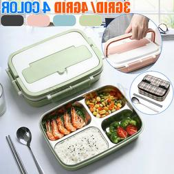 3/4Grids Stainless Steel Thermos Thermal Lunch Box Bento Foo