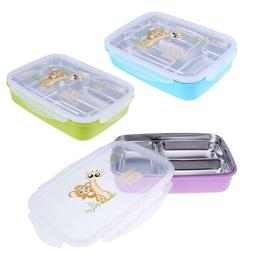 3 Grid Rectangle Stainless Steel Kids Lunch Box Insulation F
