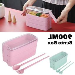 3 Layer 900ml Bento Box Lunch Box Set Food With Compartments