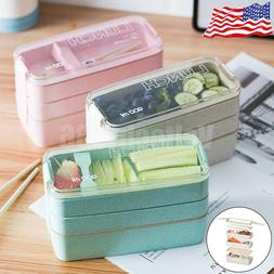 3 Layers Lunch Boxes Wheat Straw Bento Boxes Microwave Food