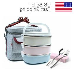 3 Layers Stainless Steel Lunch Bento Box Set for Work School