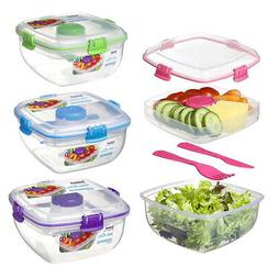 Sistema 3 Section Salad Container Fresh Food Storage To Go L