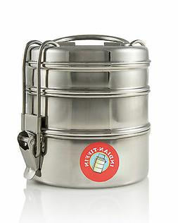3 Tier - Authentic Indian Tiffin Lunch Box Stainless Steel -