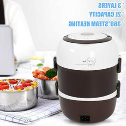 3Layers Portable Electric Lunch Box Steamer Food Warmer Brow