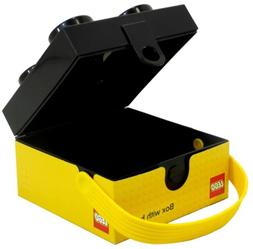 LEGO 4 Knob Black Lunch Box with Yellow Handle Brand NEW