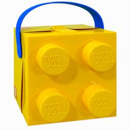 LEGO 4 Knob Yellow Lunch Box with Blue Handle Brand NEW