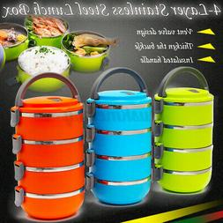 4Layer Stainless Steel Portable Insulated Lunch Box Bento Fo