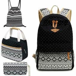 4Pcs School Backpack Set For Girls Boys Canvas Backpacks Tee