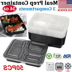 50 Pack Food Containers Meal Prep 3 Compartments Reusable Fo