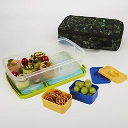 Fit & Fresh Kids' Bento Box Lunch Kit with Reusable BPA-Free