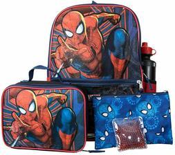 Marvel Spiderman Boys School Backpack Lunch Box Book Bag 5 P