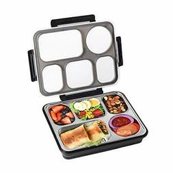 bento box 5 compartments stainless steel large