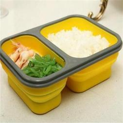 Bento Collapsible Silicone Foldable Lunch Box Food Container