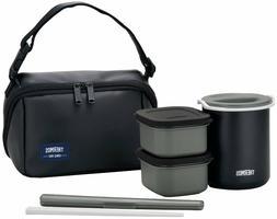 THERMOS Bento Lunch Box Mat Black Heat Preservation DBQ-362