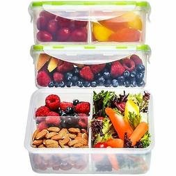 Bento Lunch Box Meal Prep Containers  - 3 Removable Compartm