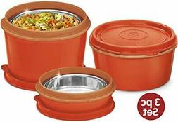 MILTON Bento Lunch Box Set - 3 MICROWAVEABLE Stainless Steel