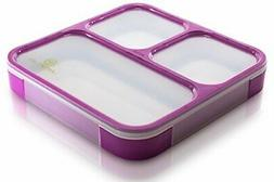 Lifemark Labs Bento Lunch Box with 3 Compartments - Purple