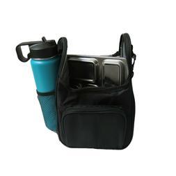Black Lunch Bag for Planet Box School Work Boy Girl Shoulder