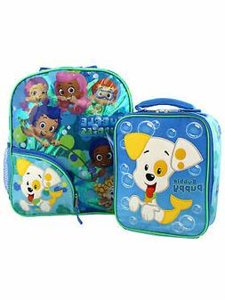 Bubble Guppies Boys Girls 14 Inch Backpack and Lunch Box Sch