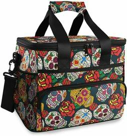 Colorful Sugar Skulls and Roses Large Lunch Bag Insulated Lu