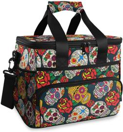 ALAZA Colorful Sugar Skulls and Roses Large Lunch Bag Insula