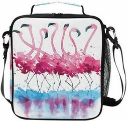 ALAZA Cooler Lunch Box Pink Flamingos Watercolor Painting In