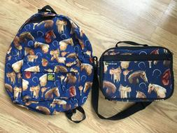 Broad Bay Cotton Blue Horse Themed Backpack & Lunchbox Set B