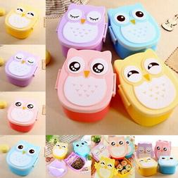 Portable Cartoon Owl Lunch Box Food Safe Microwave Storage C