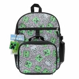 Minecraft Creeper 5 Piece Backpack Set Lunch Box Water Bottl