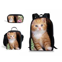 Cute Cat Backpack One Set School Bag Girls Boys Lunch Box Pe