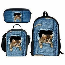 INSTANTARTS Cute Kitten Pencil Case School Bag Lunch Box Sat
