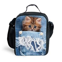 Cute Lunch Bags for Kids Pocket Cat Dog Print Themal Cooler