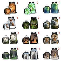 Cute Panda Deer Fox Girls School Backpack Lunch Box Teens La