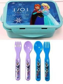Disney Frozen  Lunch Container Box with Spoon and Fork set