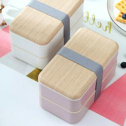 Double Layered With Cutlery Work Bento Box Kids Adults Leakp