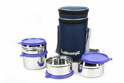 Signoraware Executive Stainless Steel Lunch Box Set, Set of