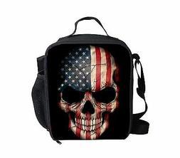 Fashion America Flag Skull Lunch Bag Boys Insulated School L