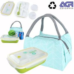FDA Microwavable Bento Lunch Box Leak Proof + Insulated Lunc