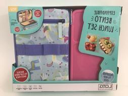 Fit & Fresh Bento Lunch Set, Purple Pink Unicorn Pattern NEW