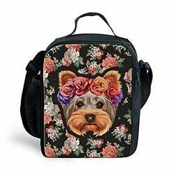 Instantarts Floral Yorkie Lunch Bag Tote Handbag lunchbox Fo