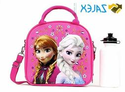 Frozen Lunch Box Carry Bag with Shoulder Strap and Water Bot